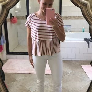 Madewell striped peplum tee